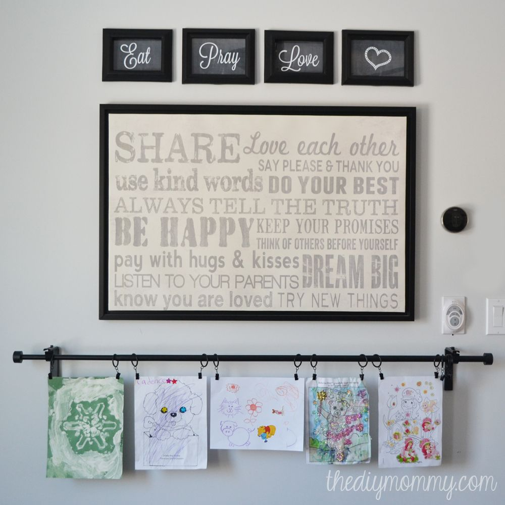 "Kitchen Wall Clip Art: Our Breakfast Nook Rotating Art Wall (+ Free ""Eat, Pray"