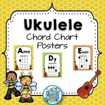 Ukulele Chord Chart Posters - Busy Bee Kids Uklelee songs - ukulele chord chart