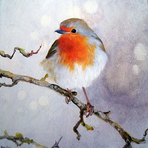 Lara Cobden Robin L Oiseaux Peints Art A Theme Oiseau