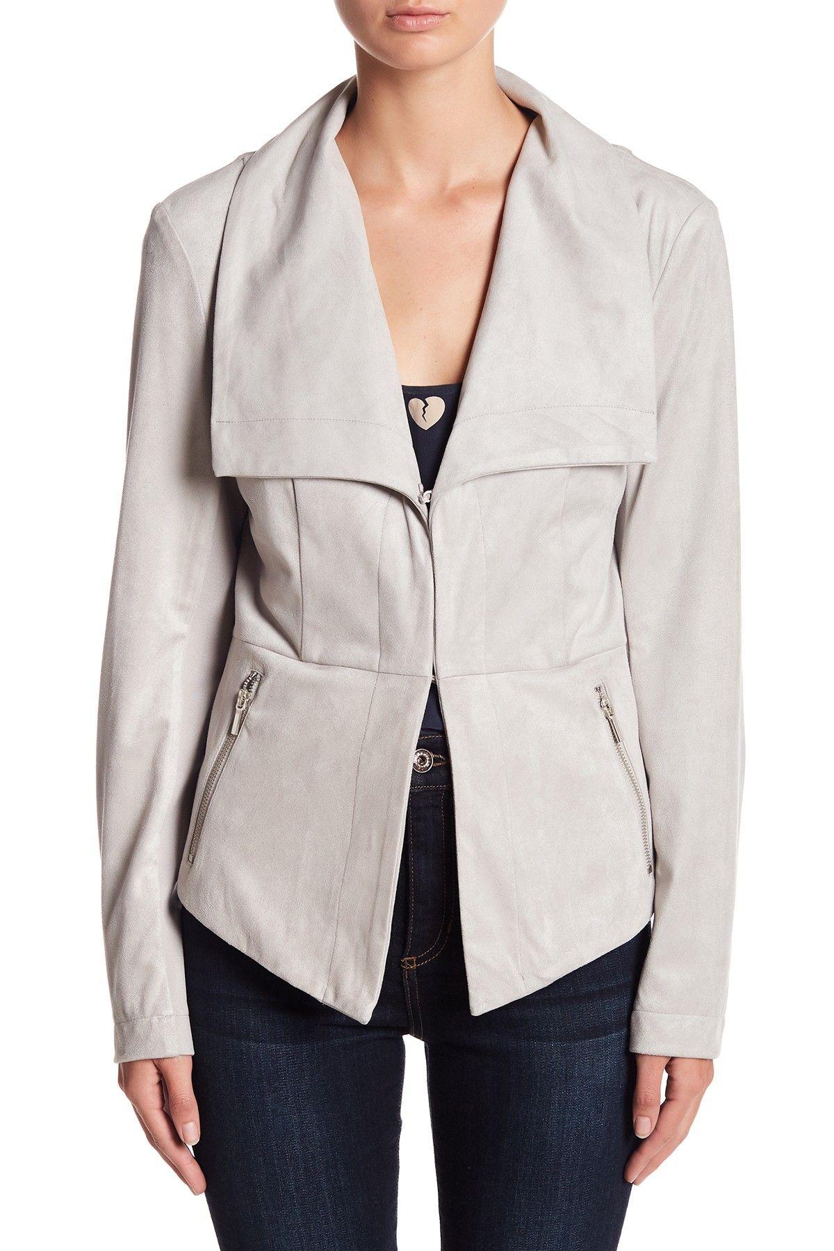 Blanc Noir Faux Suede Drape Jacket (With images) Drape