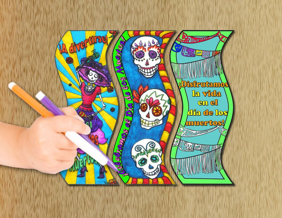 Color Me Day Of The Dead Bookmarks Set Of 30 Color Me Bookmarks Day Of The Dead
