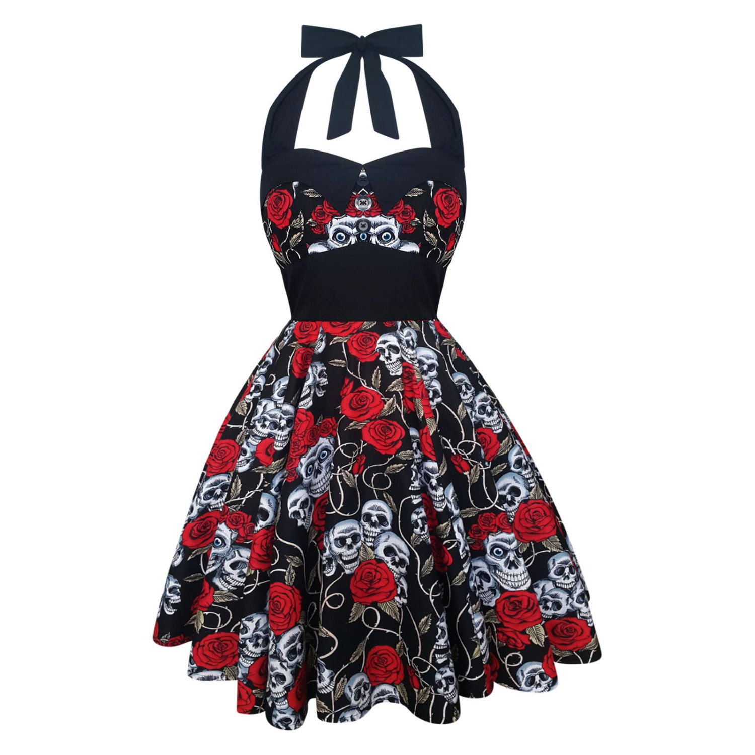 Hearts and Roses White Cherry Print Kids Swing Dress 1950s Rockabilly Girl