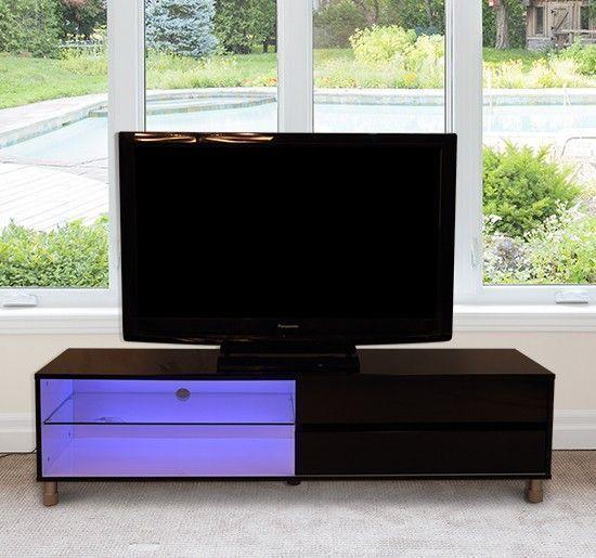 High Gloss Black Tv Stand Entertainment Center Universal Pedestal Base