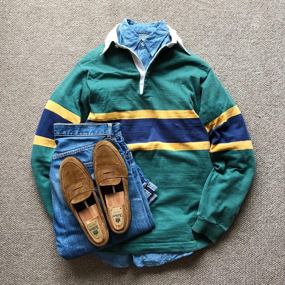 Today S Outfit 80 S Vintage Patagonia Rugby Shirt 50 S Vintage Dubble Ware S S Chambray Work Shirt 50 S Vint Rugby Shirt Todays Outfit Vintage Patagonia
