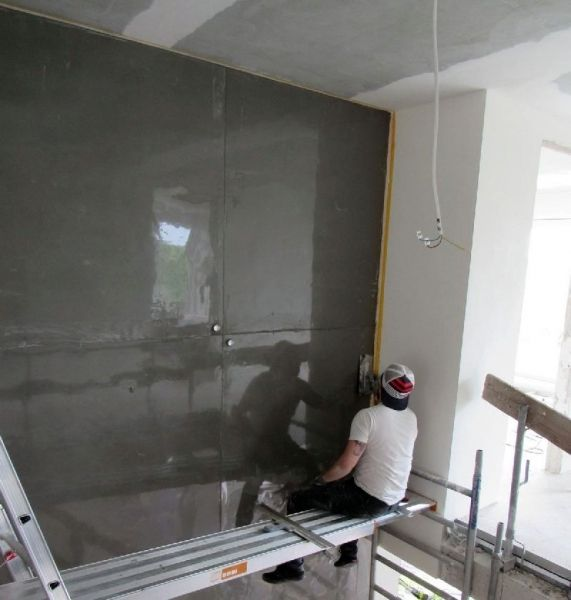 Wohnideen Wandgestaltung Maler: 8m Hohe Wandgestaltung In XXL-Sichtbetonoptik. Betonlook