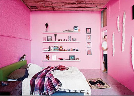 Schlafzimmer Pink ~ A bedroom painted with baker miller pink colours