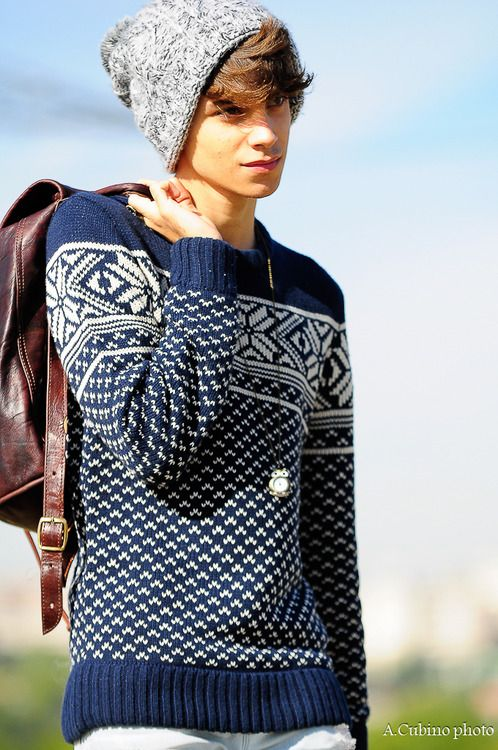 Blue and white knit jumper.