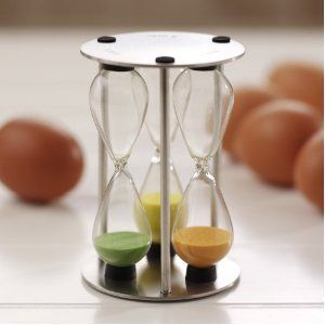 Egg timer, one part for a soft boil, one for hard and one for medium - genius!