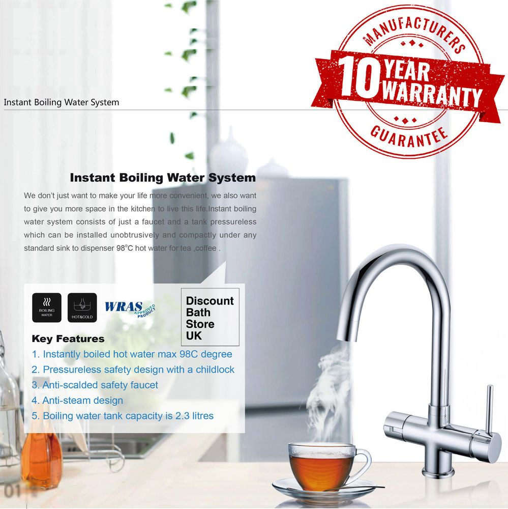 Details About Instant Hot / Boiling Water Kitchen Tap 3 In 1 Cold Water  Filter U0026 Heating Unit
