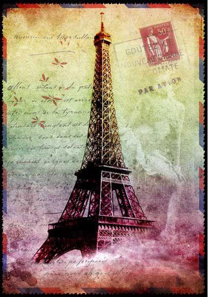 carte postale 3d tour eiffel