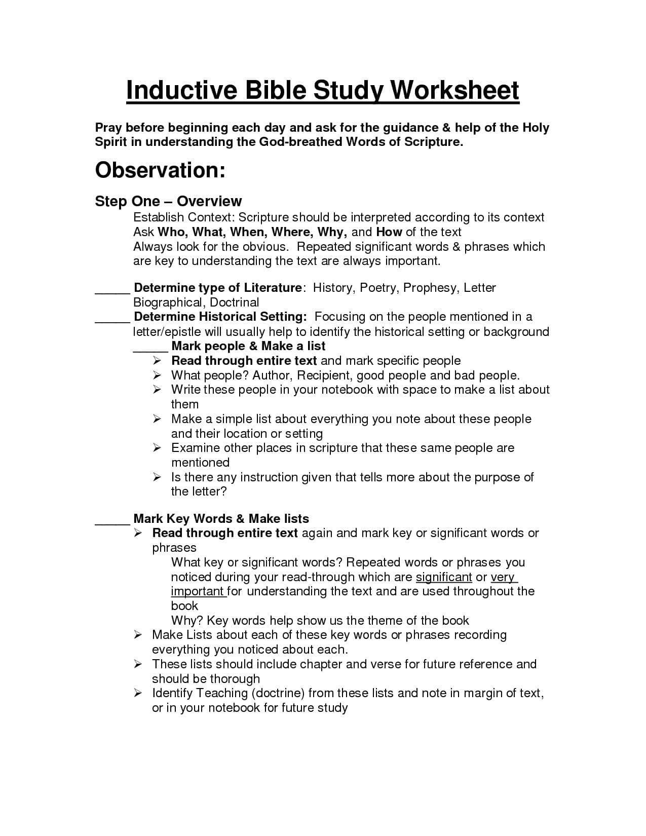Bible Worksheets For Youth In With Images