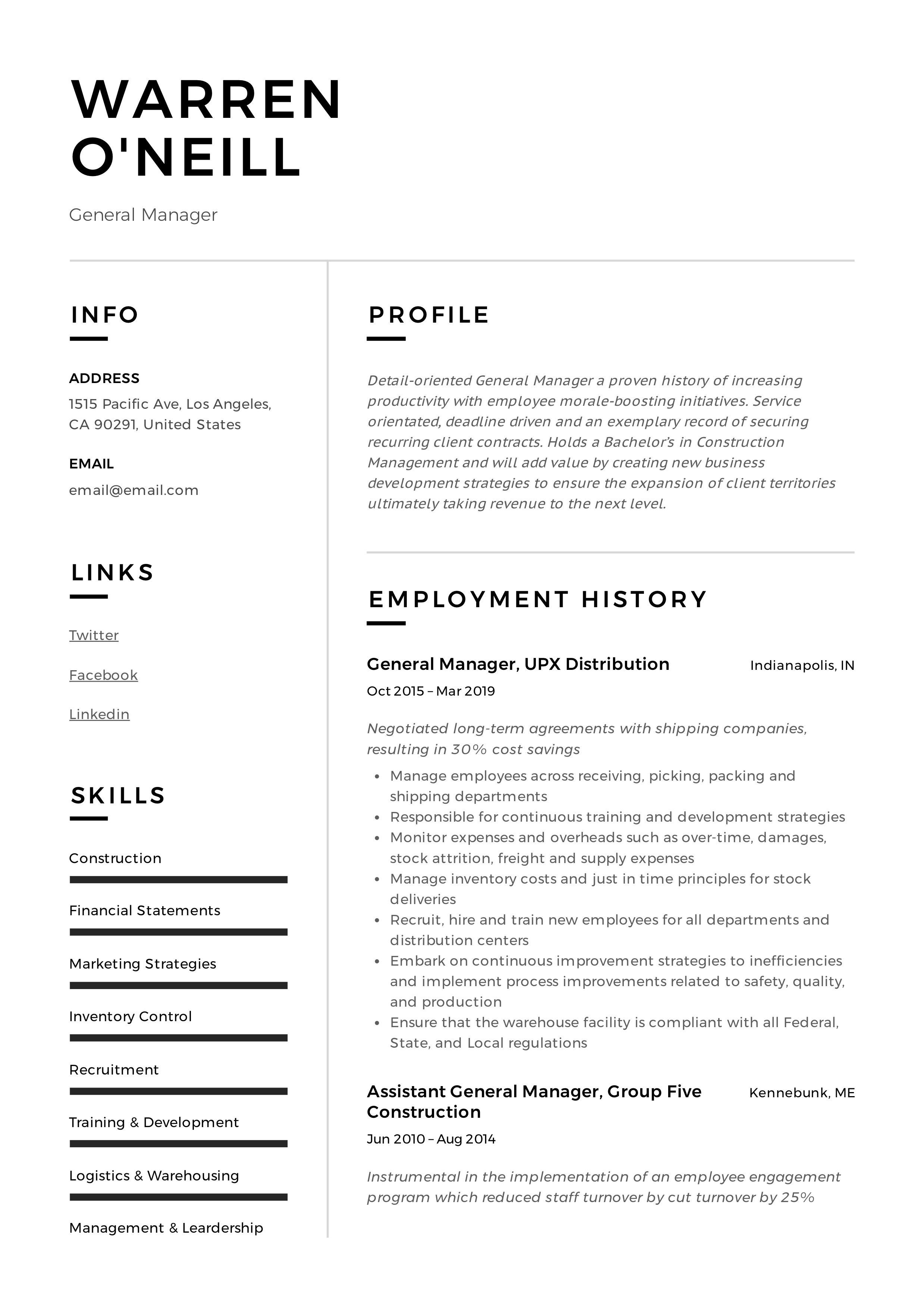 General Manager Resume Sample in 2020 Resume examples