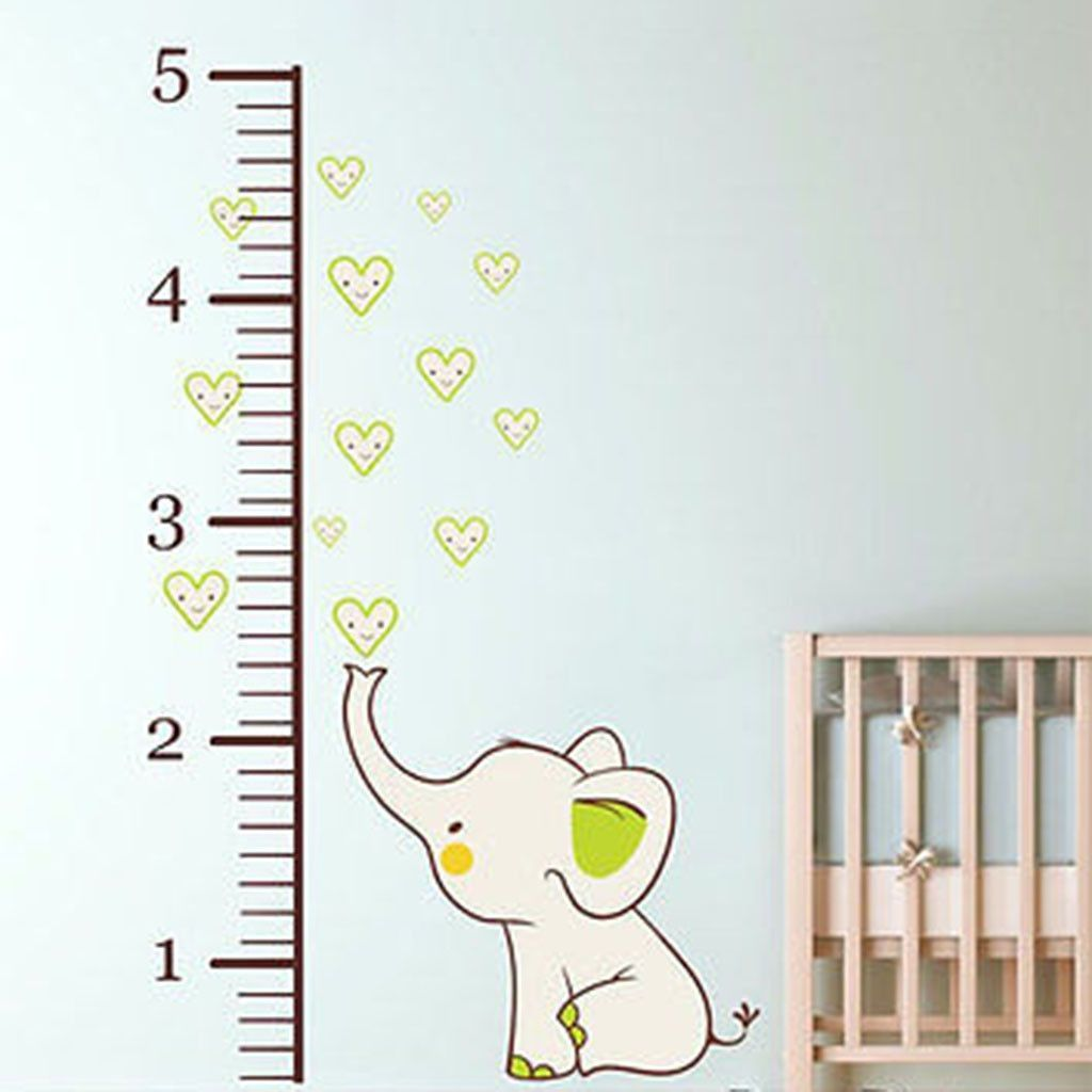 Elephant Growth Chart Printed Fabric Repositionable Wall Decal