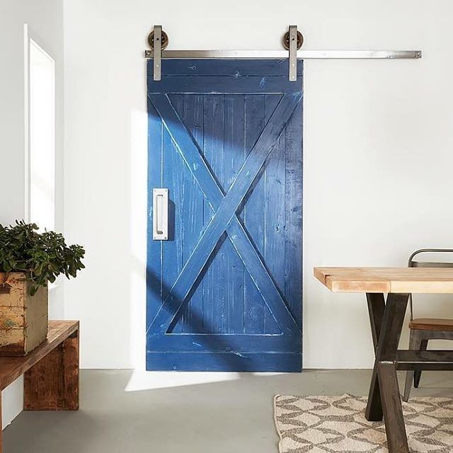 White Shanty On Instagram Our Blue Barn Door Surrounded By Several Of Our Other Handmade Piec Blue Barns Basement Bathroom Remodeling Trendy Bathroom Designs