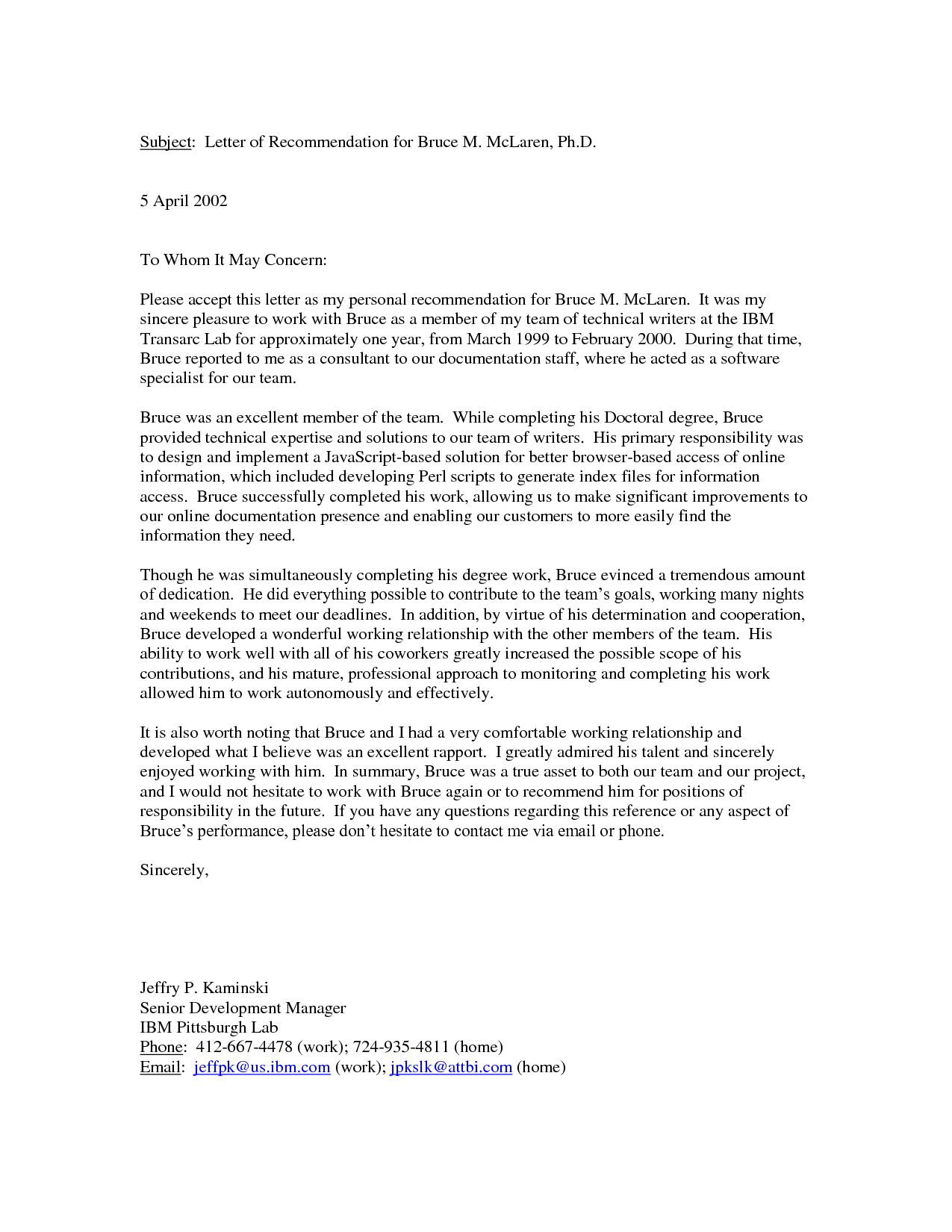 Personal Reference Letter Of Of