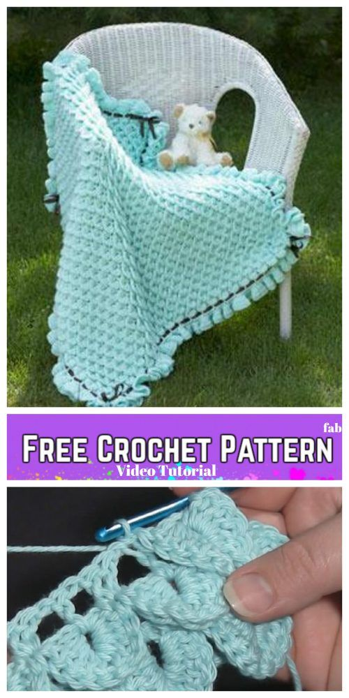 Crochet Crocodile Stitch Baby Blanket Free Crochet Pattern - Video ...