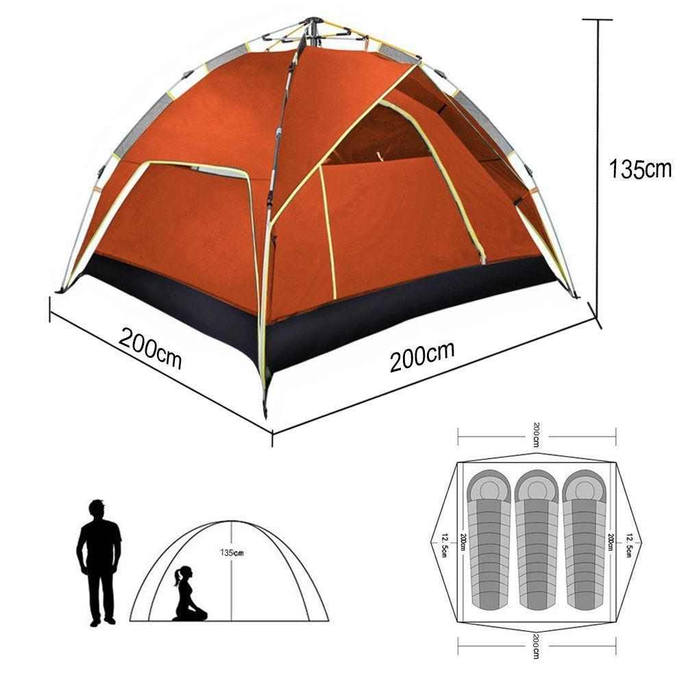 Instant Pop Up Tent 2 Person Lingwei Automatic Hydraulic Camping Tents With Double Layer Waterproof Camping Tents For 3 Person Family Tents Outdoor Sports Y