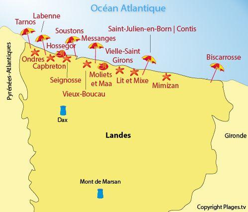 Carte des plages des Landes | Les plages Landaises | Pinterest