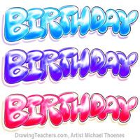 Bubble Letters Birthday In Bubble Style Graffiti Letters
