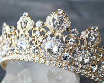 Full Bridal Crown BLUE CORDELIA Swarovski Crystal Wedding Crown Silver Bridal Diadem Blue Tiara Crystal Wedding Tiara Diamante Bridal Tiara