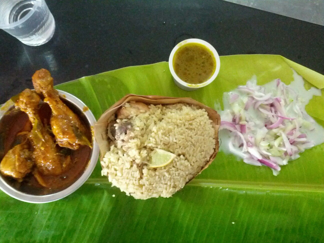 En Biryani Leg Pieces And Raita At Shivaji Military Hotel
