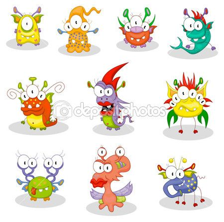 The collection of ten cartoon monsters, goblins, ghosts for Halloween or other events. — Stockillustration #4550893