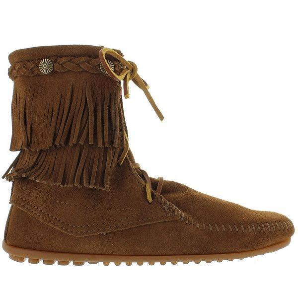 This Double Fringe Tramper Ankle Boot By Minnetonka Is All About Hi Profile Style And Cool Comfort The Boot Has Two Laye Suede Fringe Boots Boots Suede Fringe