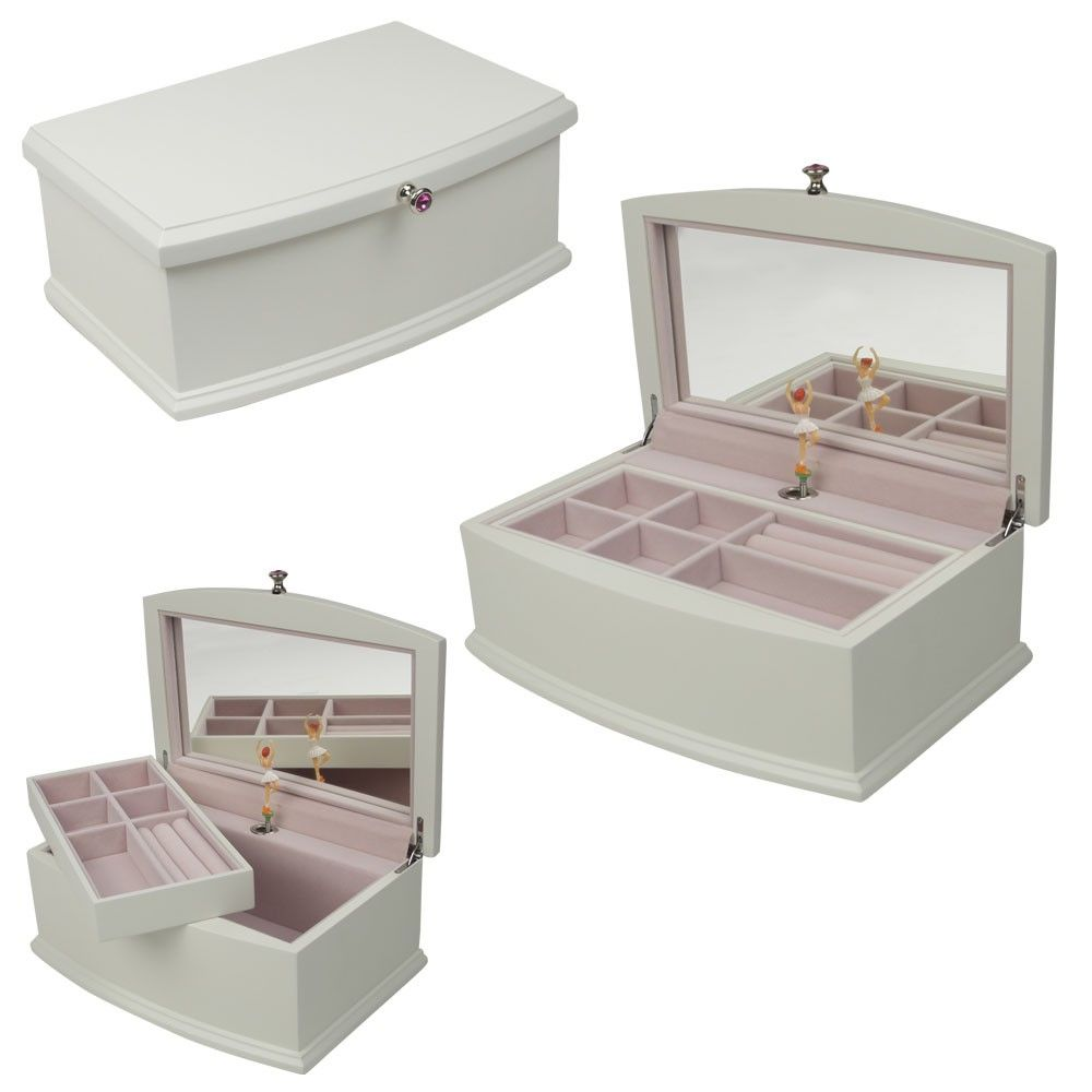 Petrus Ballerina Musical Jewelry Box White Jewelry Boxes