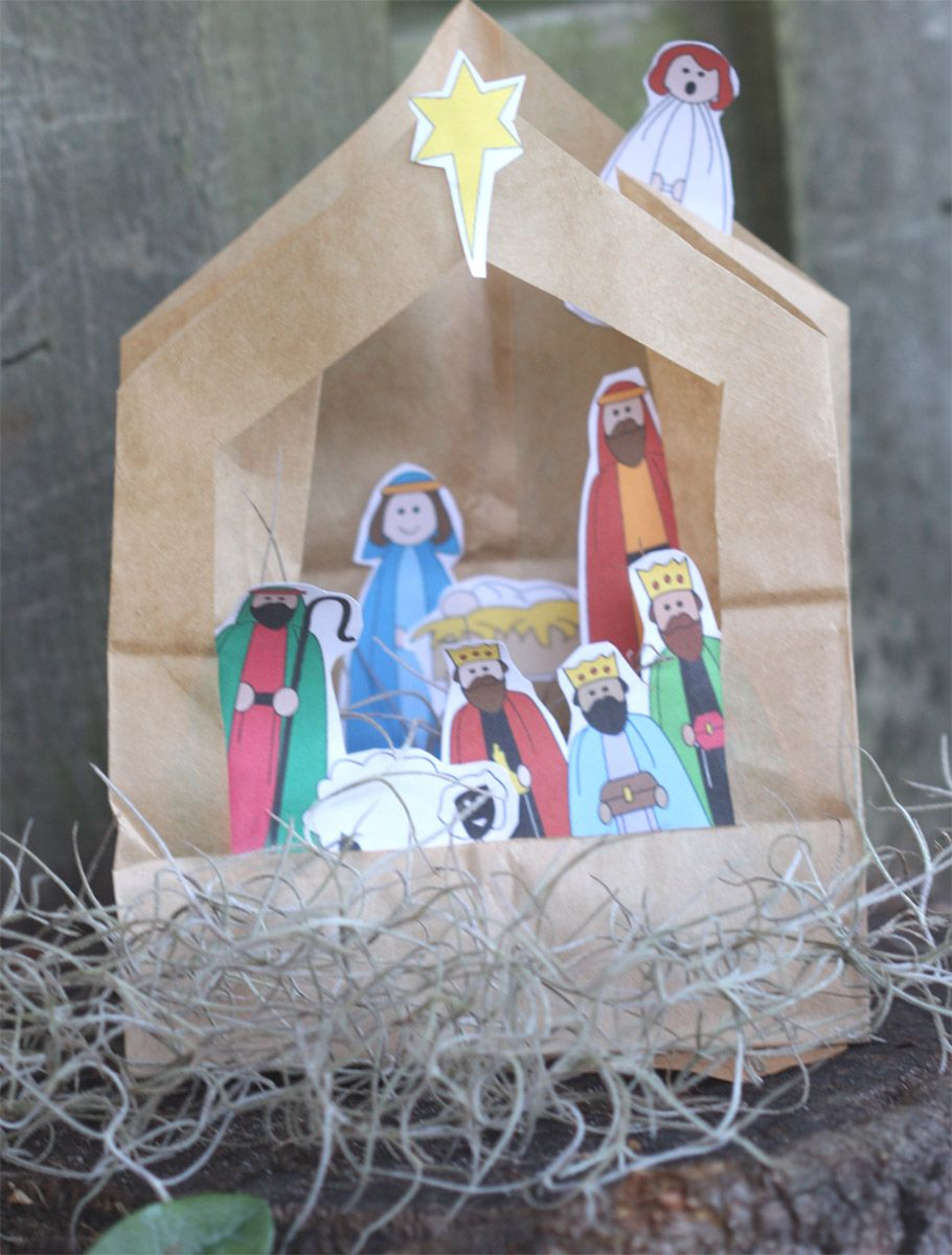 Paper bag turned nativity easy sunday school craft for Christmas bible crafts for kids