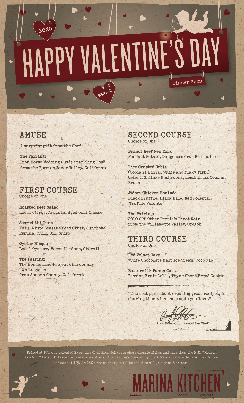 Prix Fixe Valentine's Day menu at Marina Kitchen sandiego