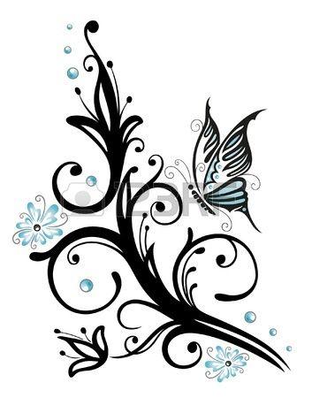 Negro flores de color azul con la mariposa estilo del - Tribal papillon ...