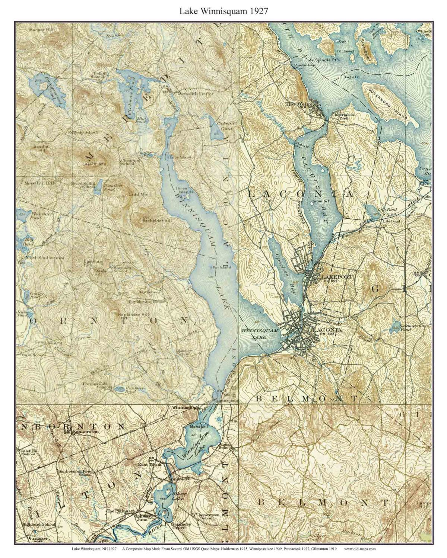 map of lake winnisquam nh Lake Winnisquam Ca 1927 Old Topographic Map Usgs Custom Composite map of lake winnisquam nh