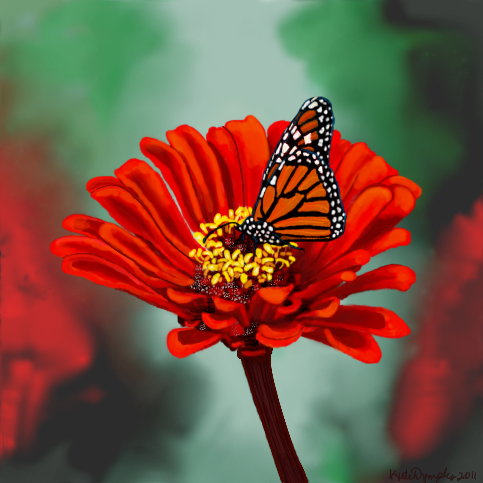 red monarch butterfly red flower and monarch butterfly art