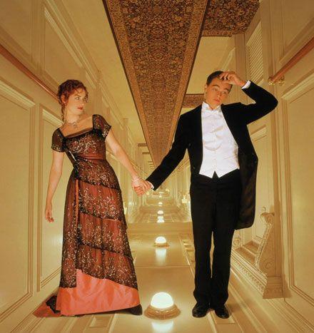 "Kate Winslet & Leonardo DiCaprio on the set of ""Titanic"""