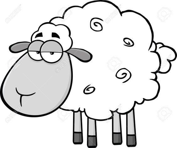 Black And White Cute Sheep Cartoon Mascot Character Illustration Sheep Cartoon Sheep Drawing Sheep Art