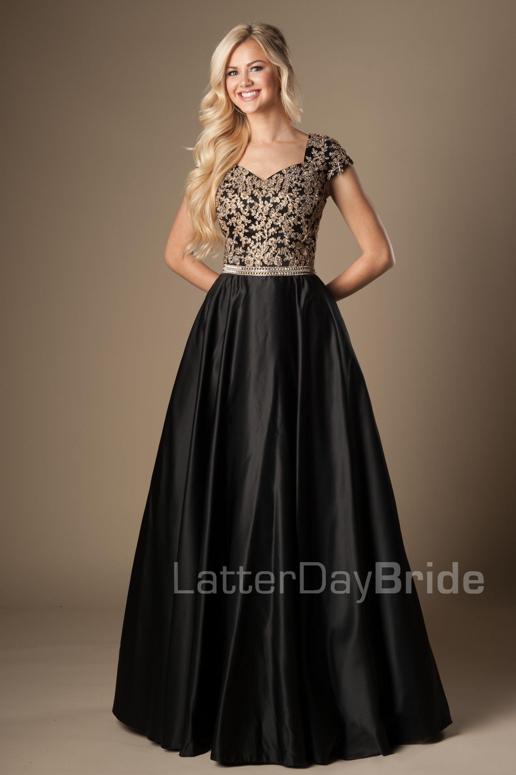 modest-prom-dress-emily-front-black.jpg | sunday best | Pinterest ...