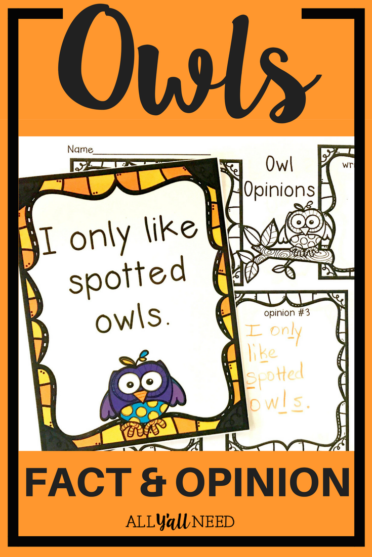 Owls Fact And Opinion Fact And Opinion Elementary Reading Slp Activities
