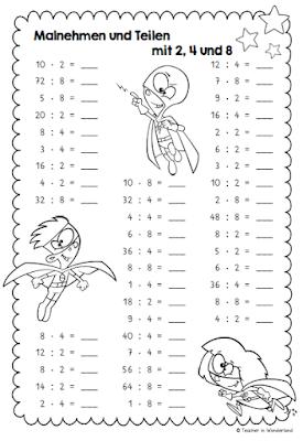 teacher in wonderland: rechenblätter zum einmaleins | nachhilfe mathe, matheunterricht