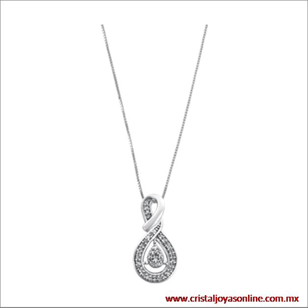 #Elegante #Diamond LOVE dije con cadena oro blanco 14k con 15 puntos de diamante #Joyería #CristalJoyas