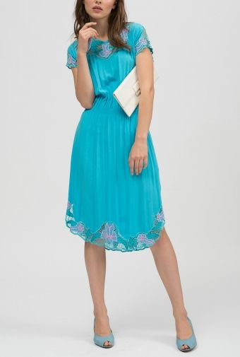 Nadia Tarr - Vintage Archive Blue Embroidered Flower Dress