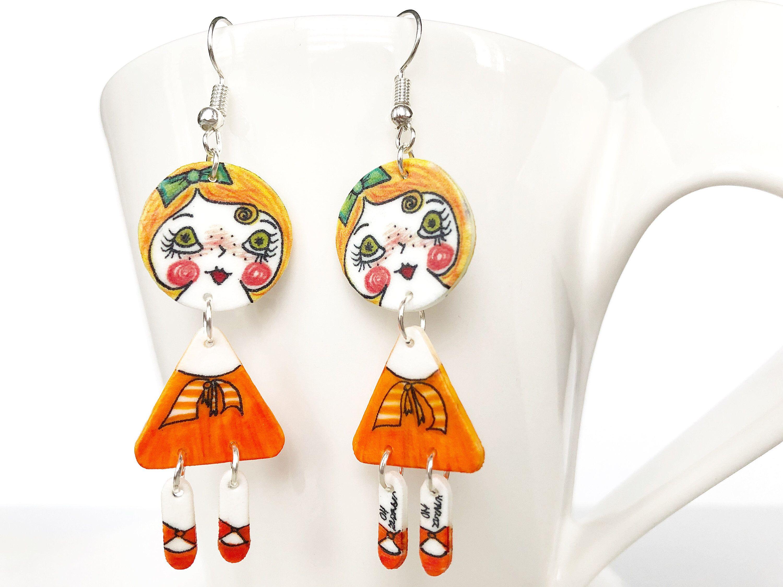 Cute handcrafted orange earrings dangle drop doll shape