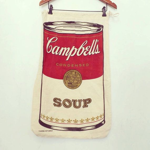 Vintage Pop Art Campbell S Soup Canvas Muslin Bag Feed Sack Drawstring Bag Collectible Rustic Home Decor Farm Style Andy War Campbell Soup Campbells Farm Style