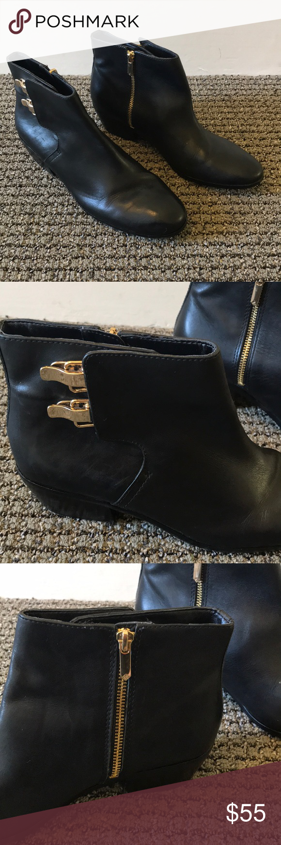 1ef9a245f Steve Edelman Booties! Gently loved Steve Edelman black soft leather  booties with classy gold buckles and zippers. Some minor signs of wear (see  photos).