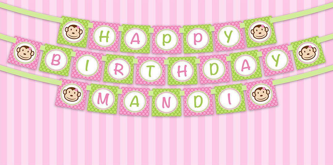 printable diy pink and green monkey girl theme birthday banner 800 via etsy