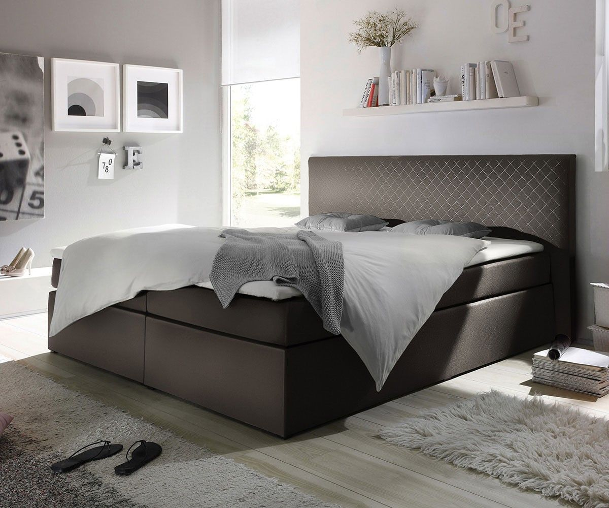 boxspringbett stafford 180x200 cm grau abgesteppt delife deluxe beds pinterest. Black Bedroom Furniture Sets. Home Design Ideas