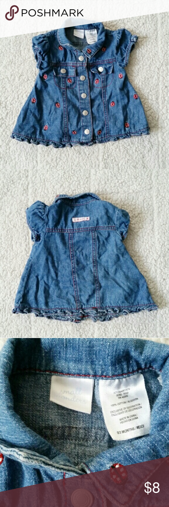 Small Wonders denim ladybug top/dress sz 0-3 month Adorable denim dress, or top with ladybugs all over. Snap button closure. Sz 0-3 months. All items are always clean and from a smoke free home! Small Wonders Dresses Casual