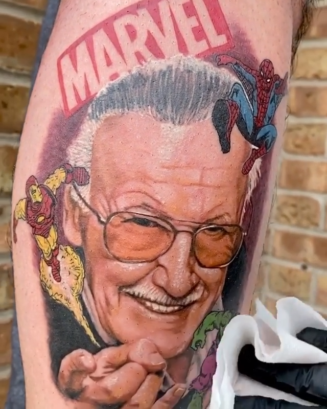Stan Lee / Marvel tattoo inspo by Chicagobased tattoo
