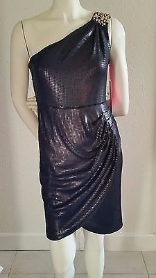 NEW Matthew Williamson Grecian-One-Shoulder-Gem-#Sequin Holiday Dress-size-2