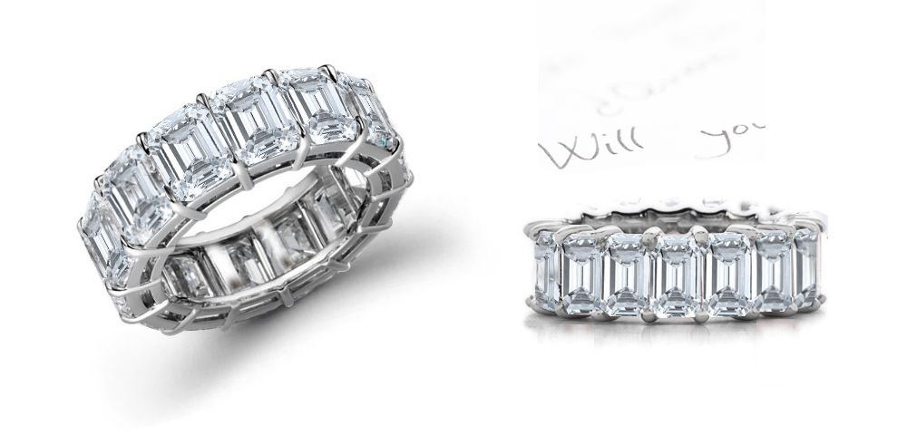 Impeccable Shimmering Emerald Cut Diamond Eternity Rings