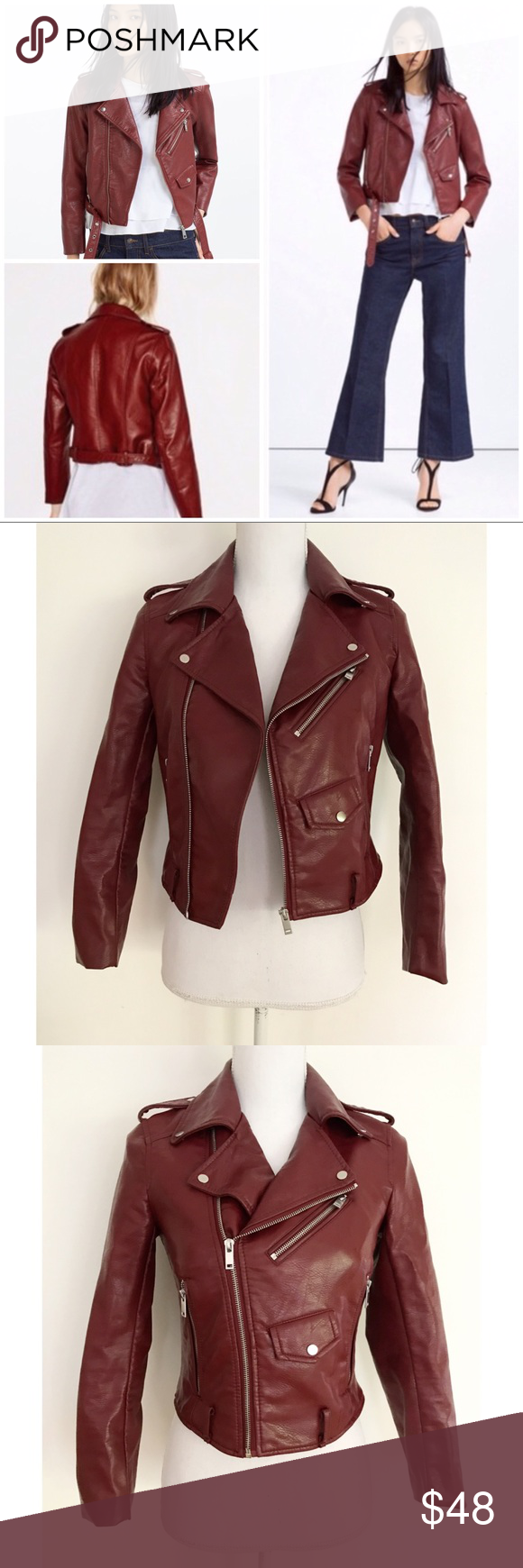 Zara Vegan Leather Cropped Moto Zip Jacket (With images